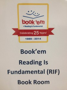 The sign on the door to Book'em's Reading is Fundamental program room