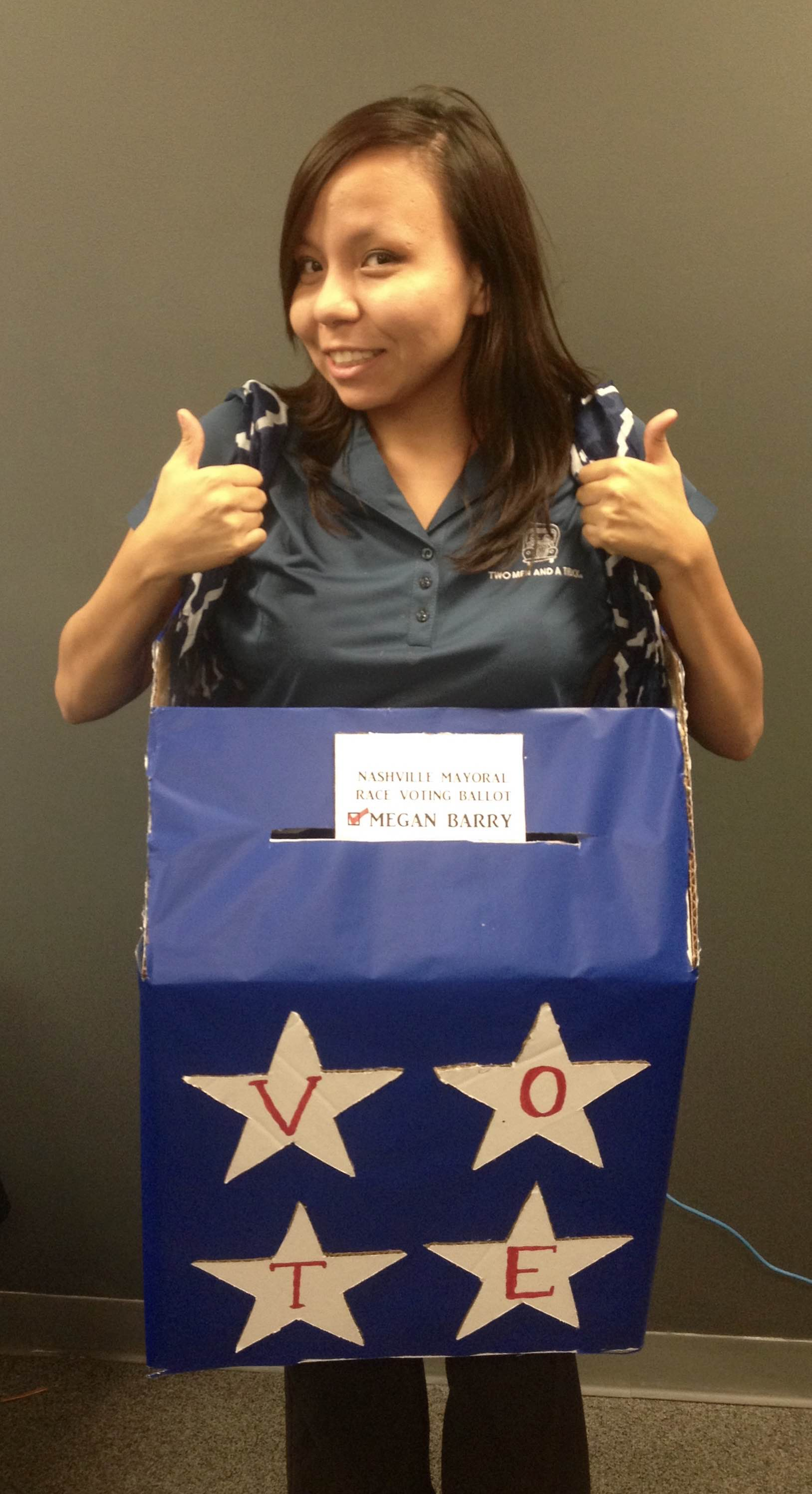 Patricia modeling our Mayoral Ballot Box Halloween costume  sc 1 st  Movers Who Blog & 3 DIY Halloween Costumes You Can Make With a Leftover Moving Box ...