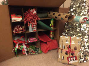 Create a wrapping station out of a TWO MEN AND A TRUCK wardrobe box!