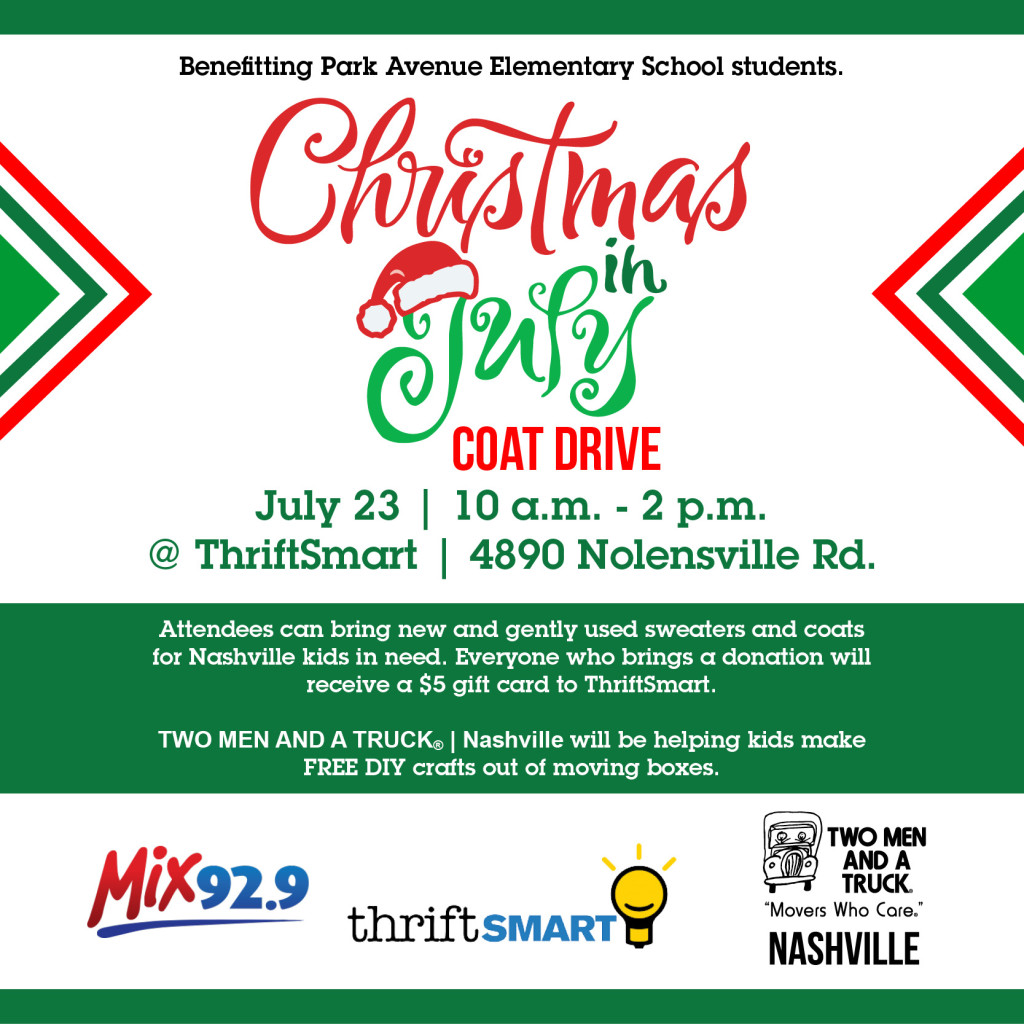 TWO MEN AND A TRUCK Nashville is hosting a Coat Drive to benefit Park Avenue Elementary School!