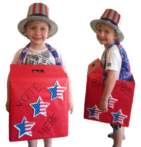 Make a 2016 Presidential Election ballot box costume out of a TWO MEN AND A TRUCK moving box!