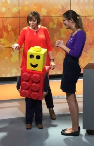 TWO MEN AND A TRUCK Nashville's LEGO man boxtume featured on News Channel 5's Talk of the Town show