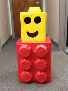 LEGO box costume made out of a TWO MEN AND A TRUCK box