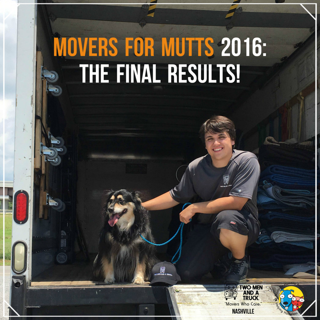 The final results of Nashville's 2016 Movers for Mutts Drive benefiting Nashville Humane Association