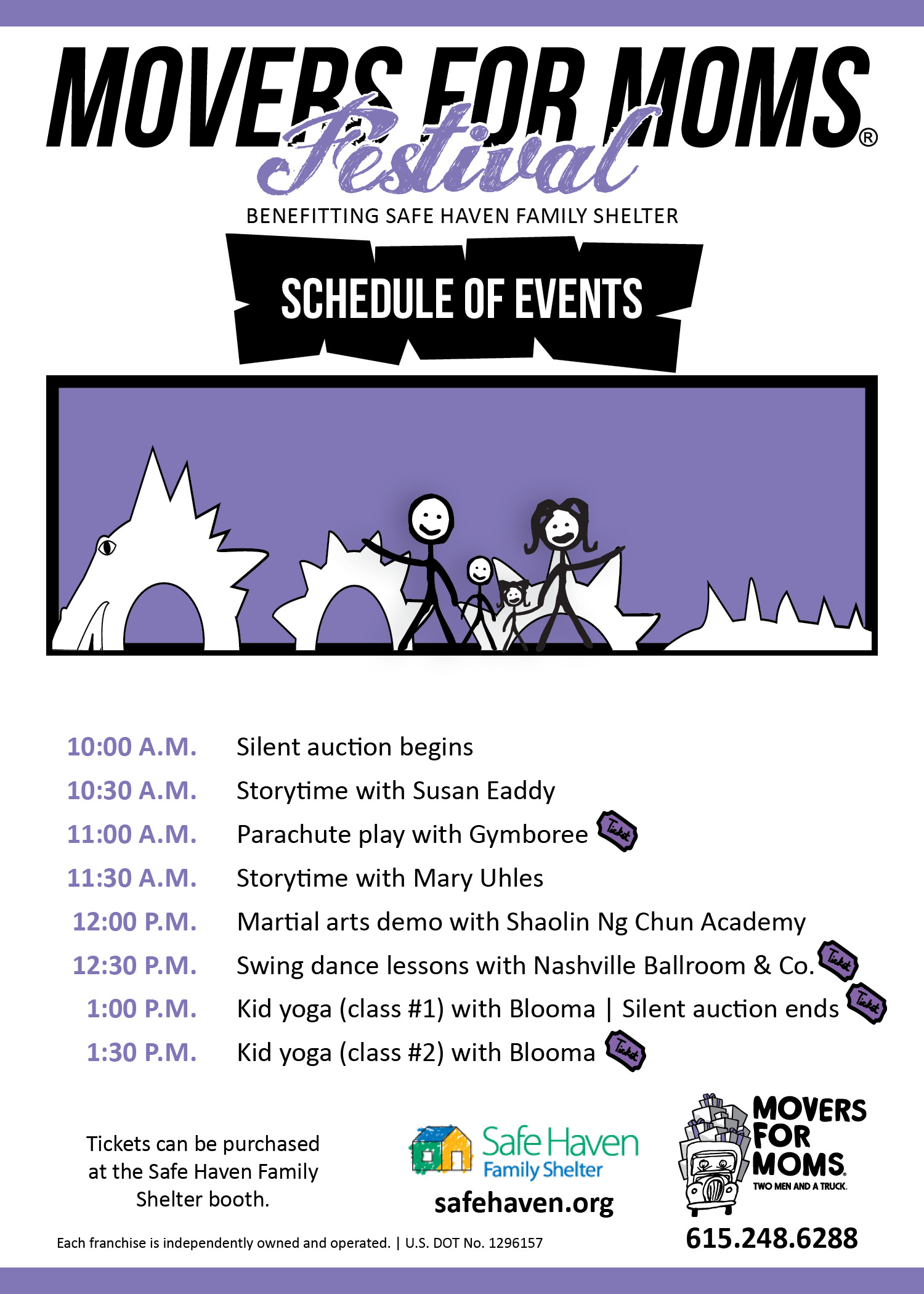 Schedule of Events for the Movers for Moms Festival in Nashville
