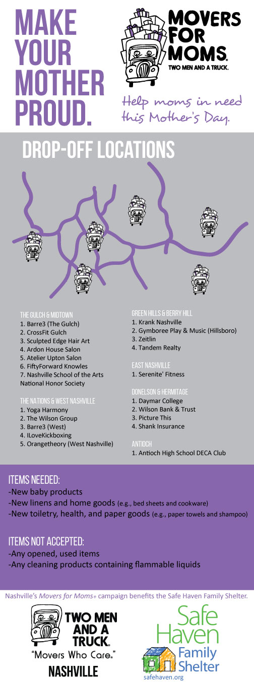 Nashville Movers for Moms collection locations